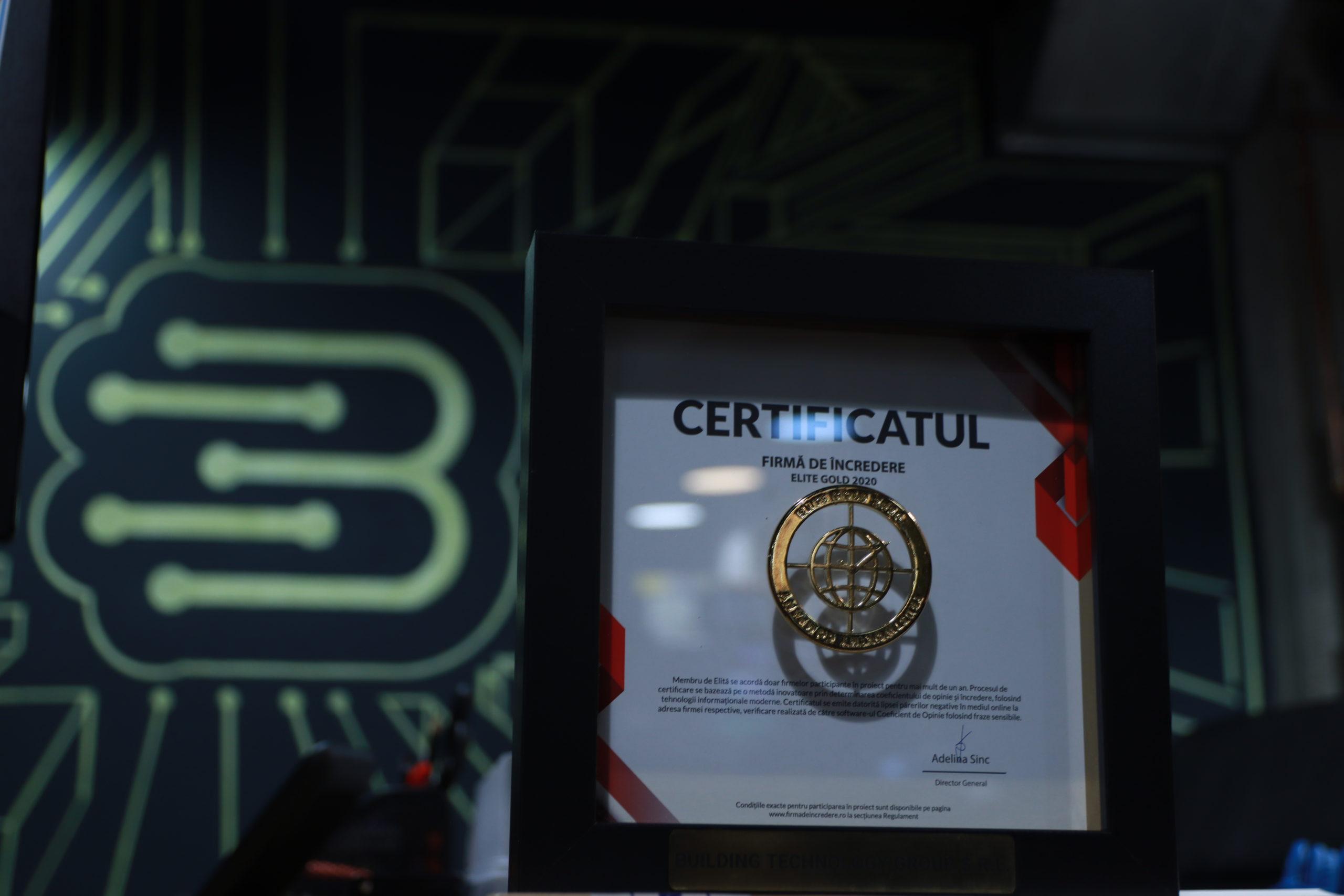"""Certificat """"Firmă de încredere ELITE GOLD 2020"""""""